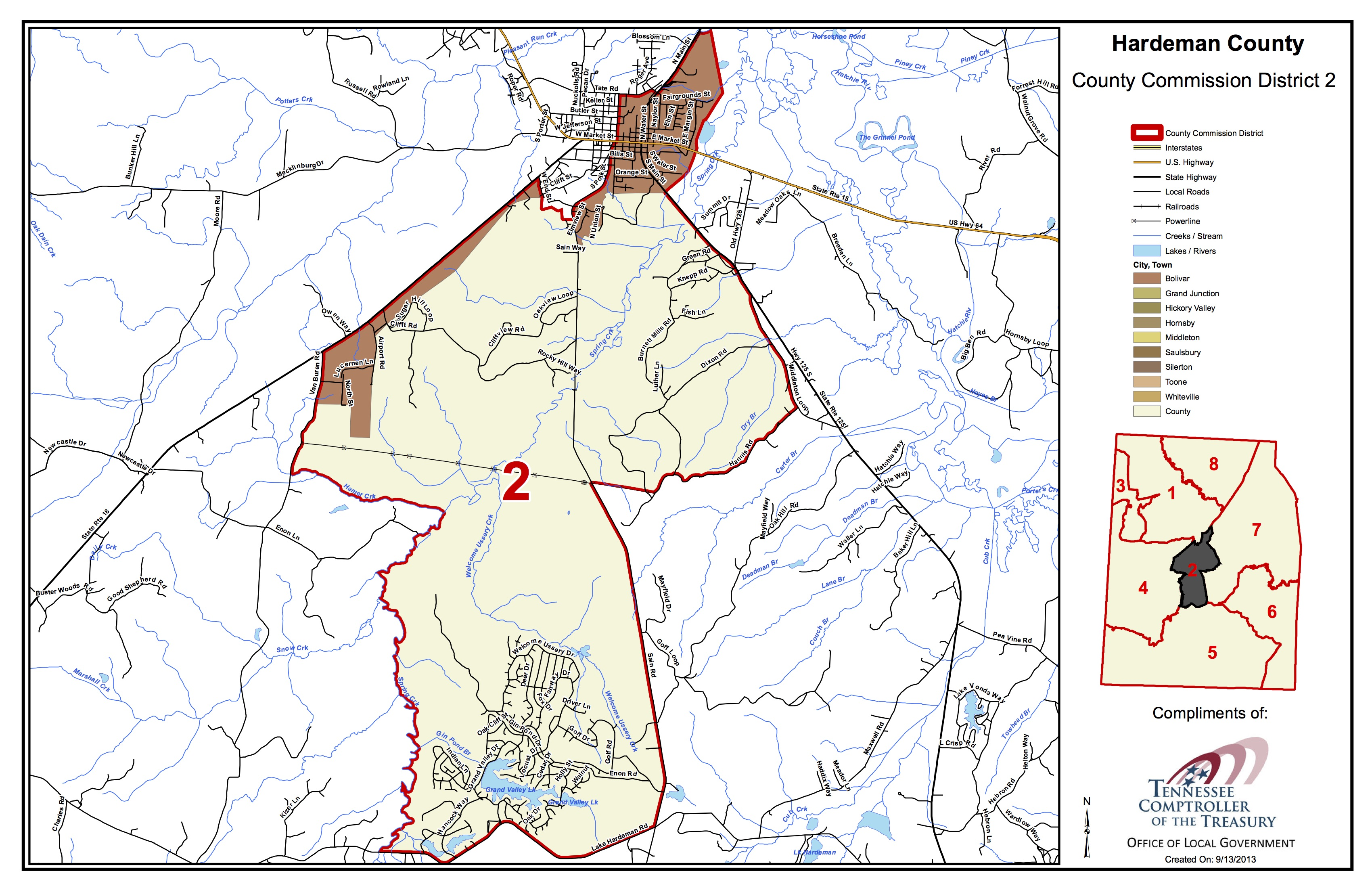 Hardeman County, TN Zip Code Wall Map Basic Style by