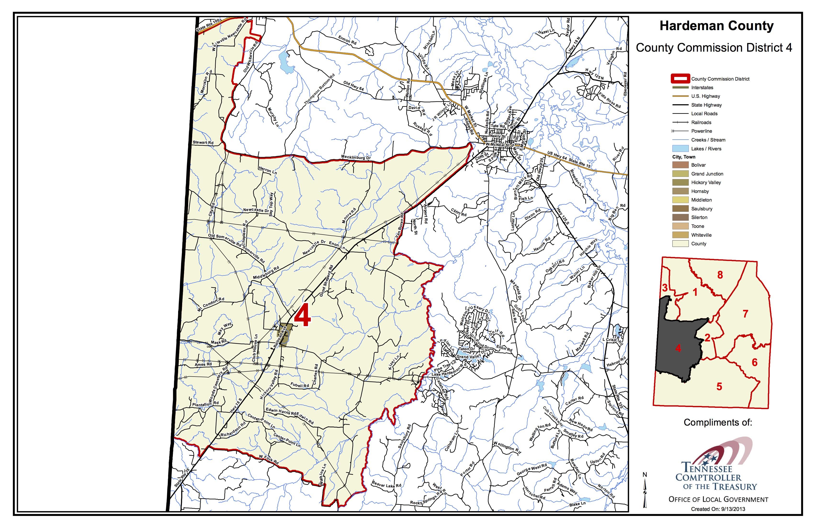 Hardeman County, TN Wall Map Premium Style by MarketMAPS